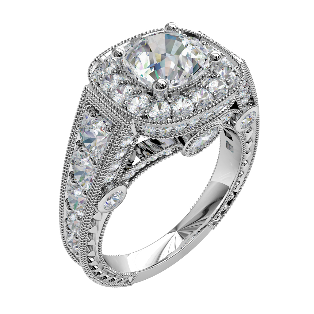 Asscher Cut Halo Diamond Engagement Ring, 4 Claws Set into a Milgrain Bead Set Halo on a Reversed Tapered Bead Set Band and Undersetting, with Milgrain and Art Deco Outer Band Details.