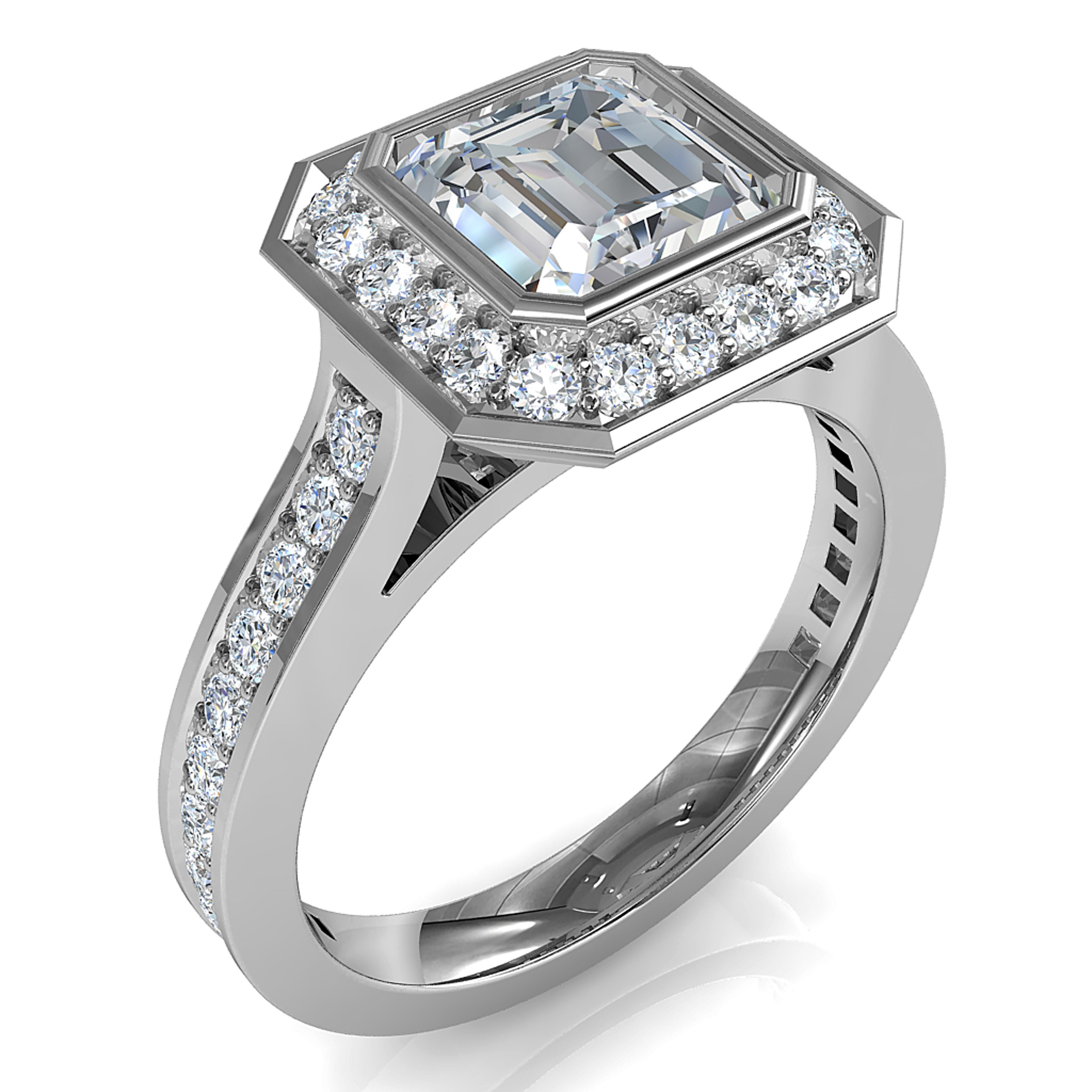 Asscher Cut Halo Diamond Engagement Ring, Bezel Set into a Bead Set Halo and Band.