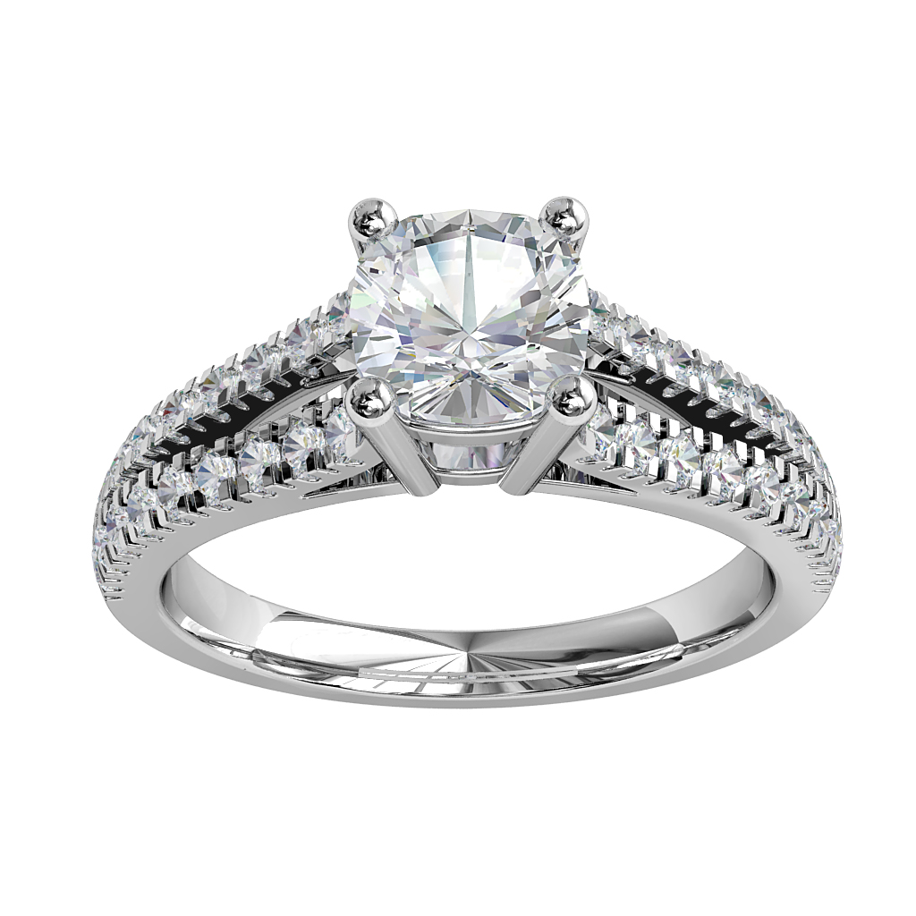 Asscher Cut Solitaire Diamond Engagement Ring, 4 Claw Set on a Diamond Cut Claw Split Band.