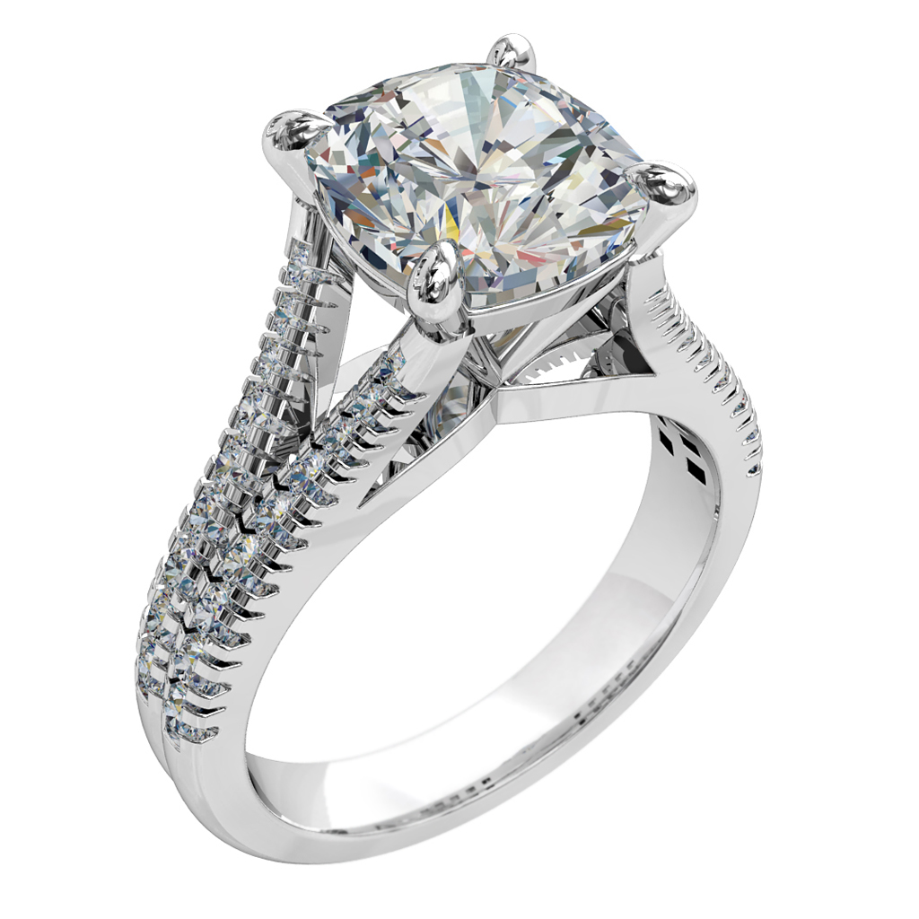Asscher Cut Solitaire Diamond Engagement Ring, 4 Pear Claw Set on a Tapered Cut Claw Split Band with a Raised Classic Setting.