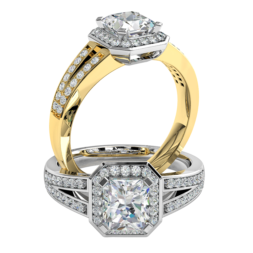 Asscher Cut Halo Diamond Engagement Ring, 4 Square Claws set in an Asscher Shaped Bead Set Halo on a Split Bead Set Band.