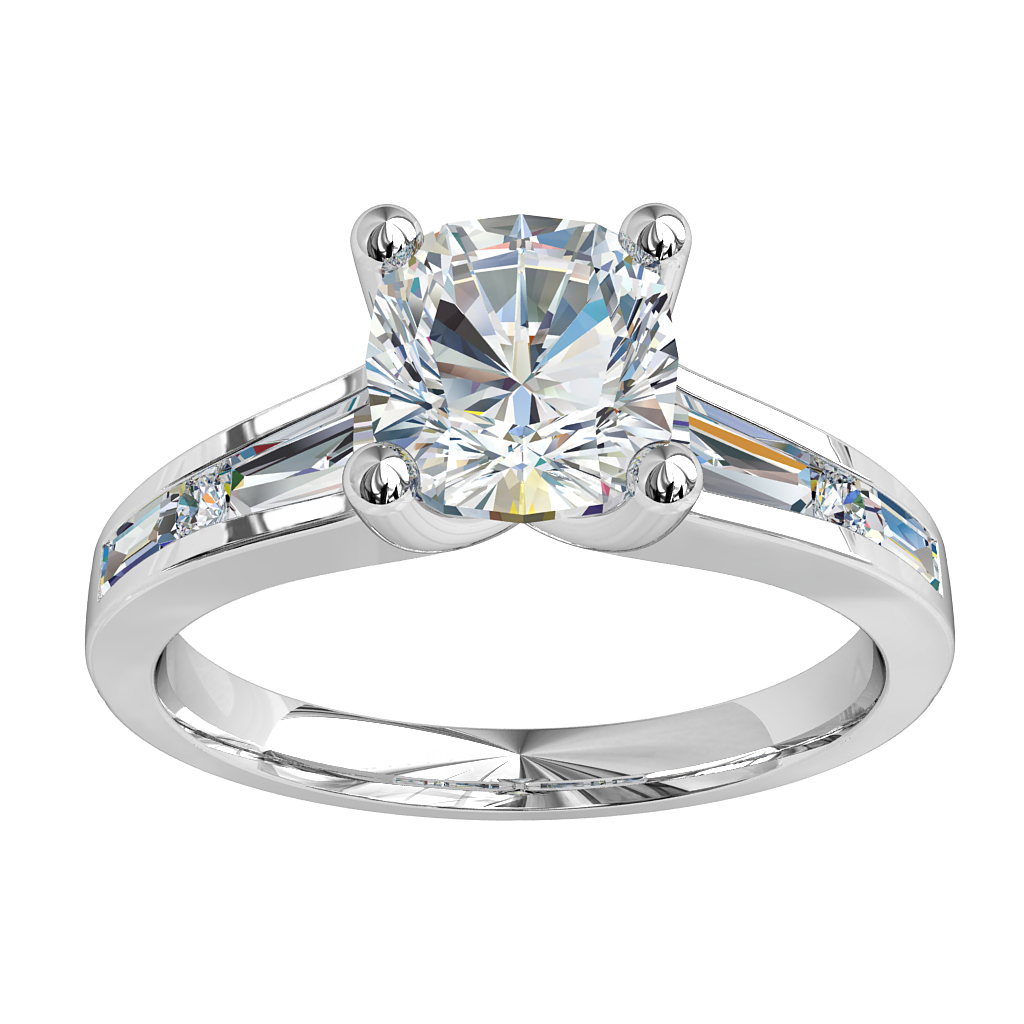 Asscher Cut Solitaire Diamond Engagement Ring , 4 Claw Set on a Channel Set Tapered Baguette and Round Diamond Band.