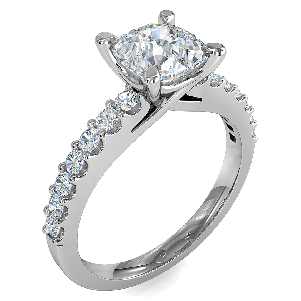 Asscher Cut Solitaire Diamond Engagement Ring, 4 Pear Claw Set on a Cut Claw Band with an Undersweep Setting.
