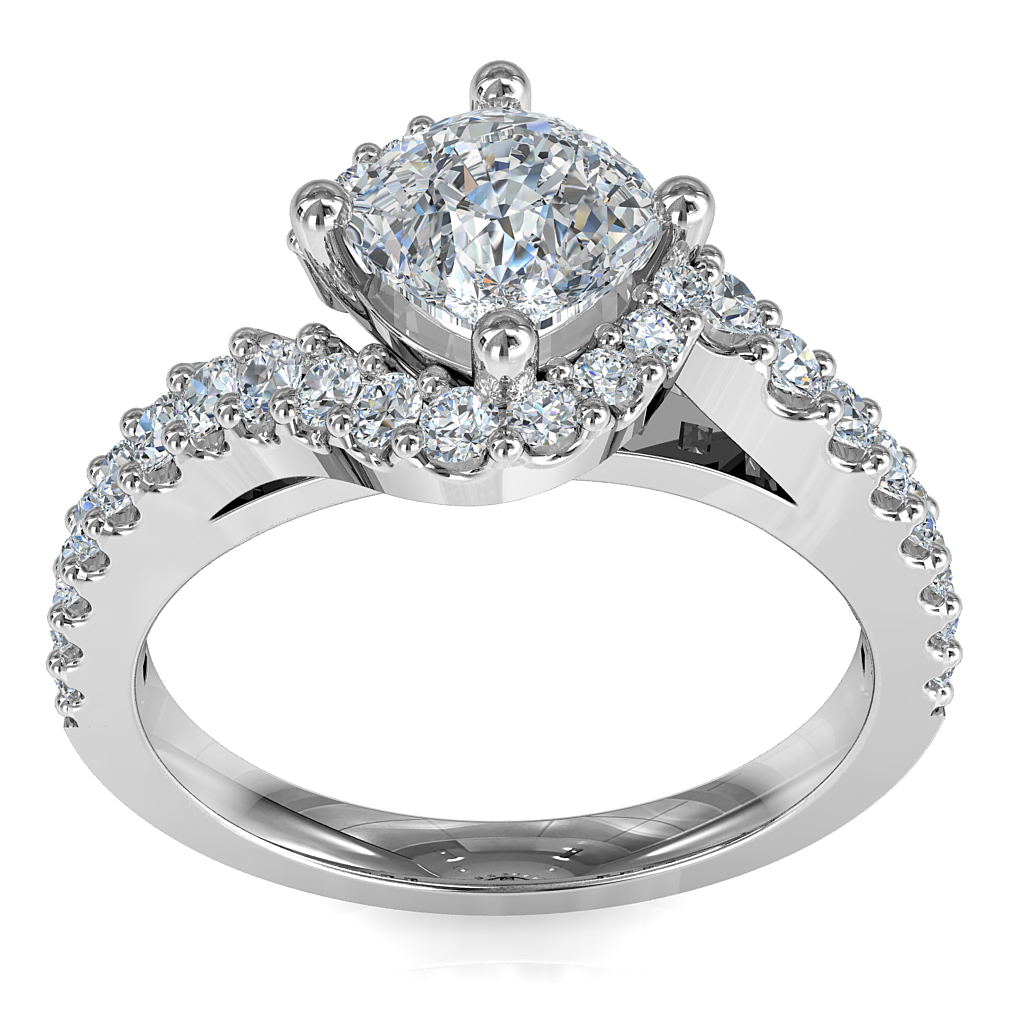 Asscher Cut Solitaire Diamond Engagement Ring, 4 Offset Claws Set on a Sweeping Diamond Cut Claw Band.
