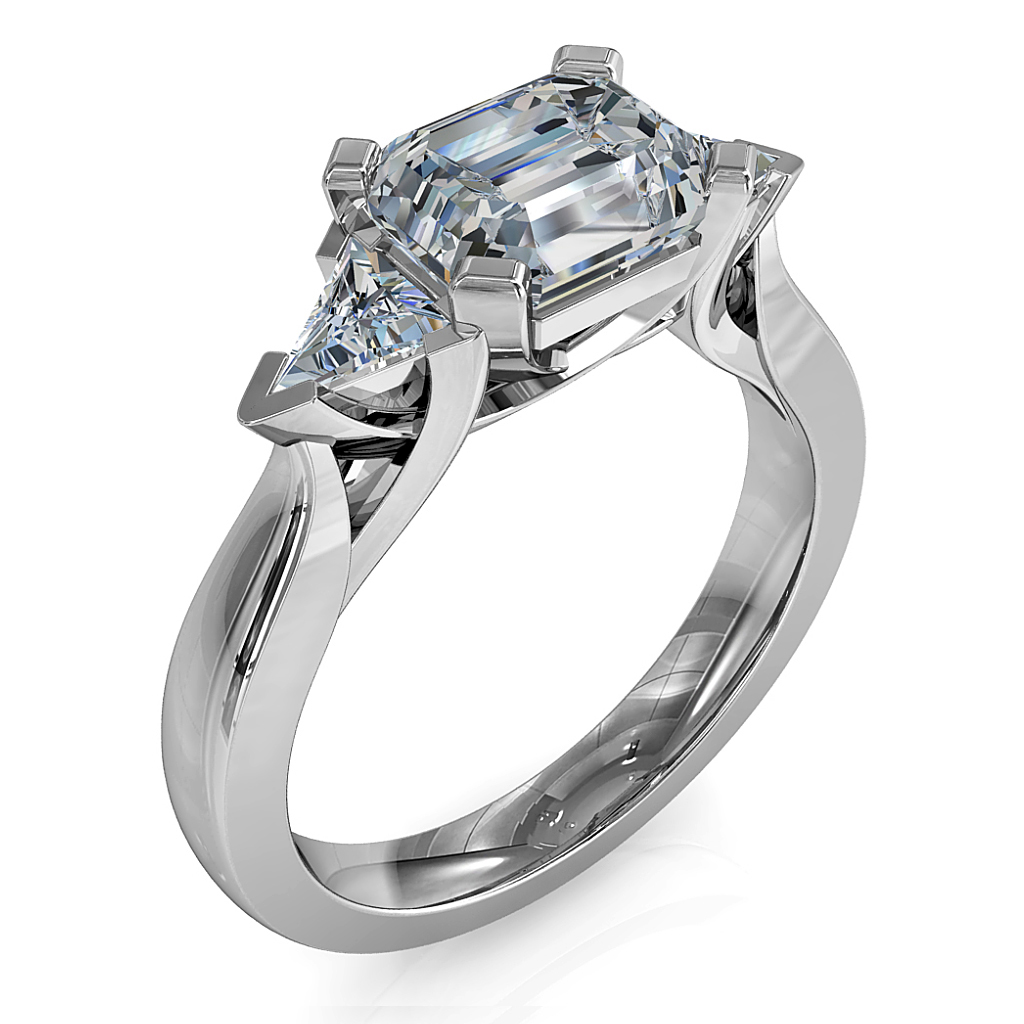 Emerald Cut Trilogy Diamond Engagement Ring, Horizontal Set with Trilliant Side Stones and a Sweeping Undersetting.