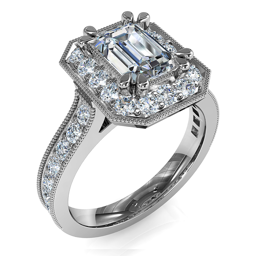 Emerald Cut Halo Diamond Engagement Ring, Double Pear Shape Claws Set in a Milgrain Bead Set Halo with a Milgrain Bead Set Band and Support Bars.