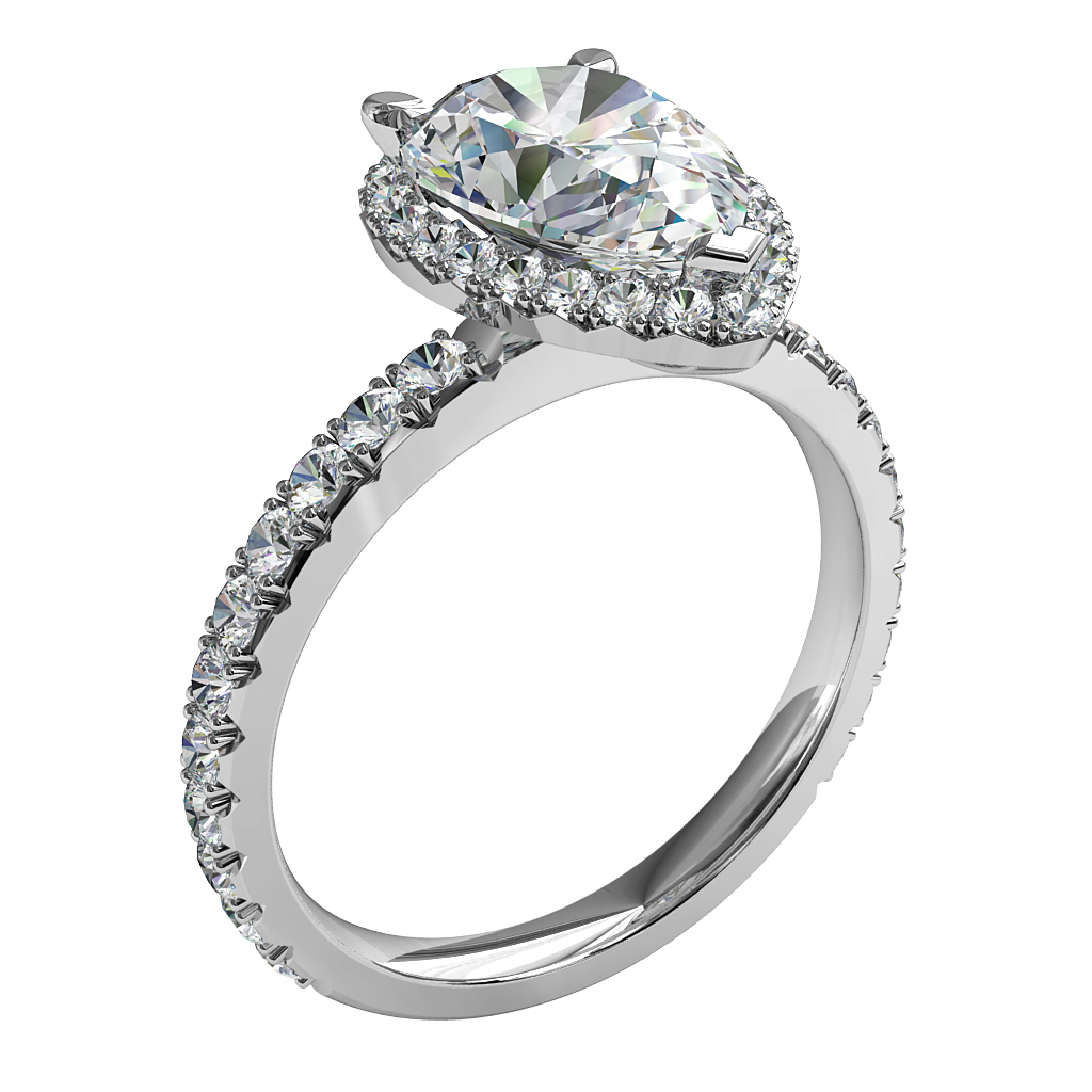 Pear Shape Halo Diamond Engagement Ring, 3 Claw Set in a Cut Claw Halo on a Thin Cut Claw Band with a Raised Undersetting.
