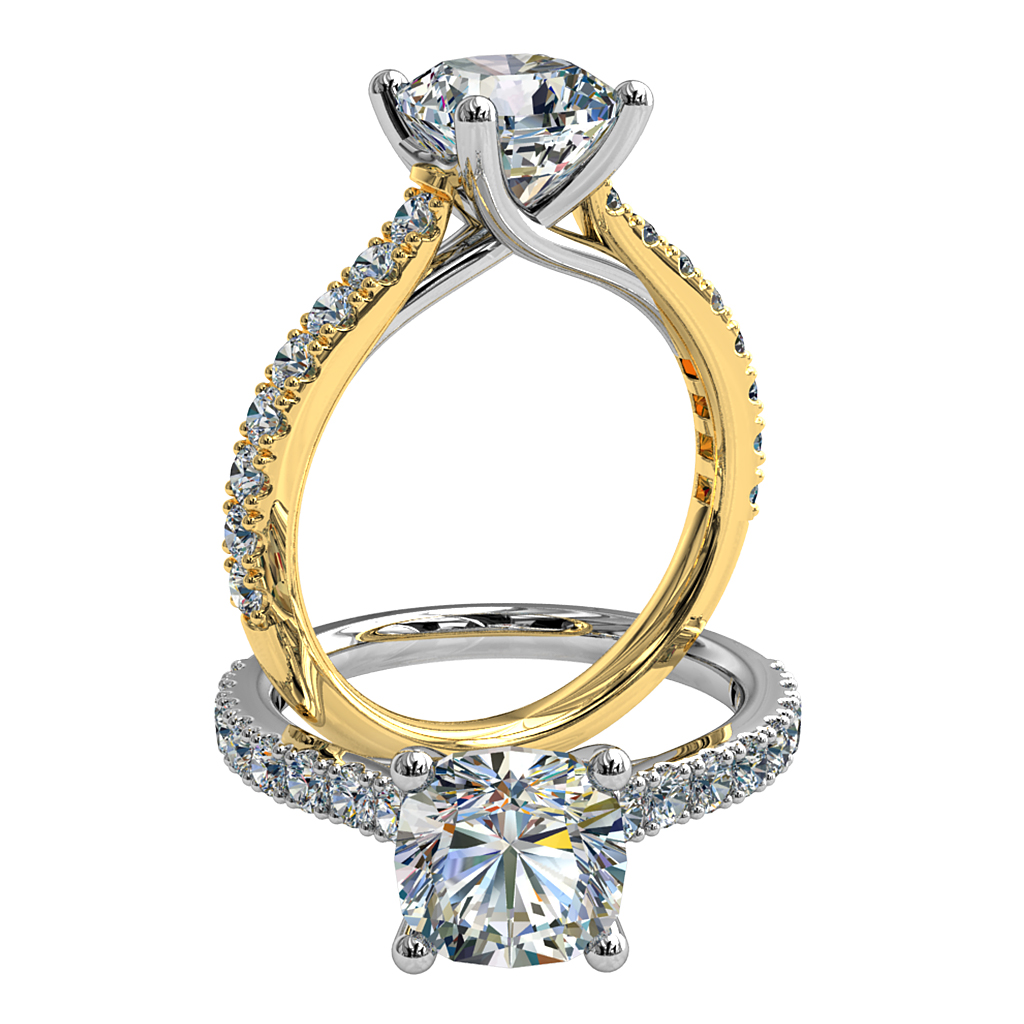 Cushion Cut Solitaire Diamond Engagement Ring, 4 Claw Set on a Cut Claw Band with an Undersweep Setting.