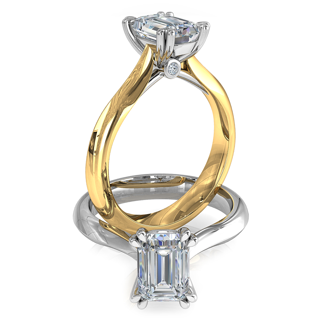 Asscher Cut Solitaire Diamond Engagement Ring, 4 Double Pear Claws with Hidden Diamond Undersetting.