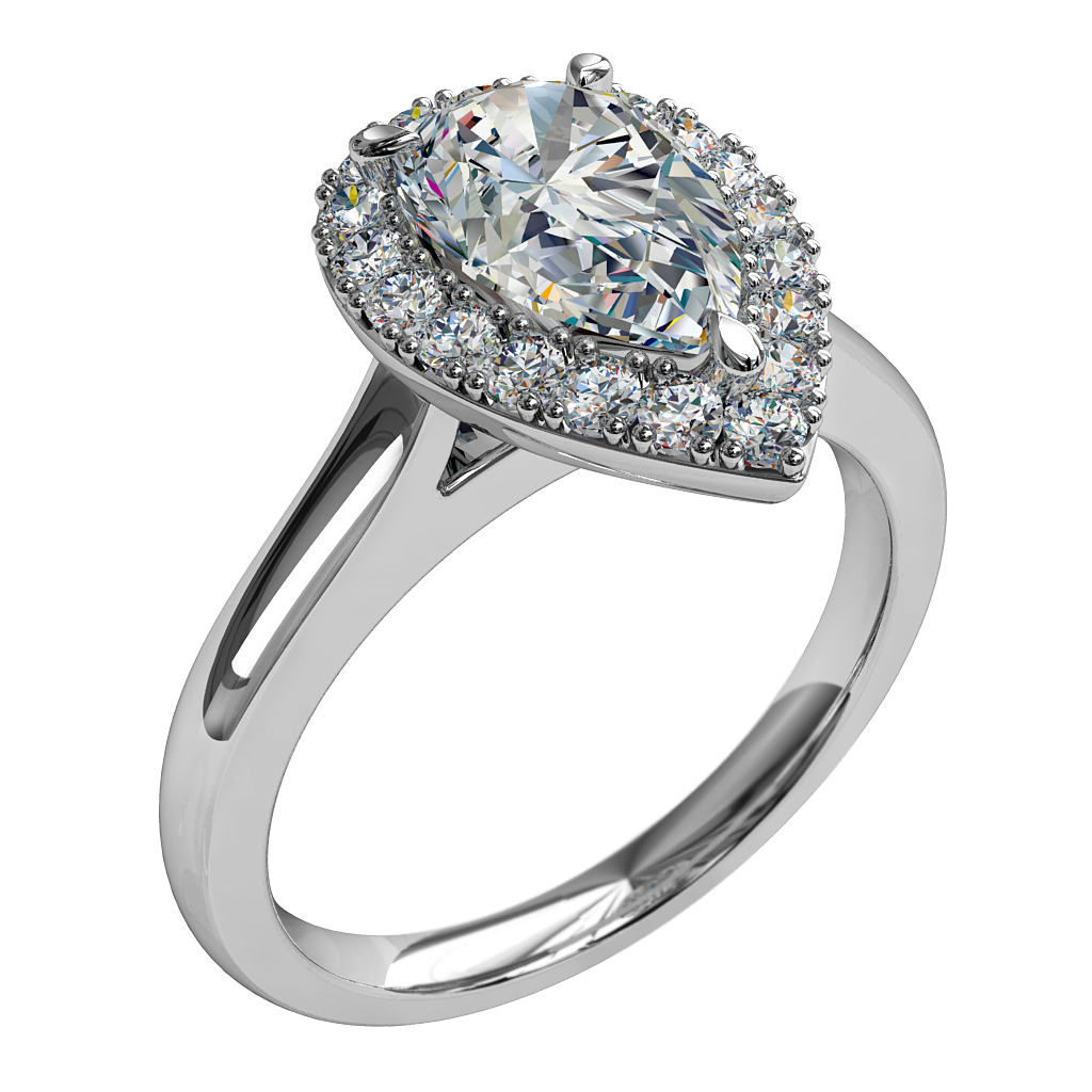 Pear Shape Halo Diamond Engagement Ring, 3 Pear Shape Claws Set in a Cut Claw Halo and a Classic Underrail Setting.