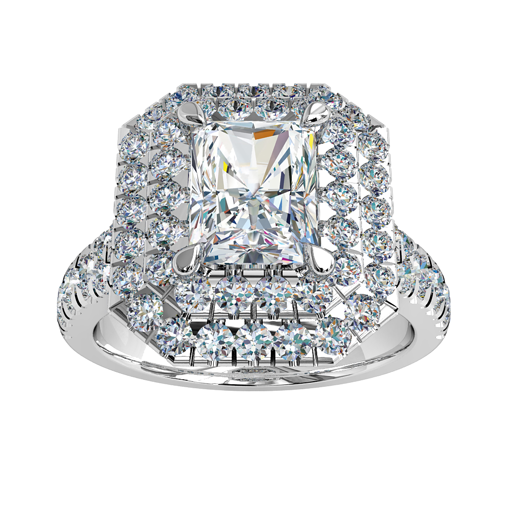 Emerald Cut Halo Diamond Engagement Ring, Double Cut Claw Halo and Cut Claw Split Band with a Hidden Diamond Undersetting.