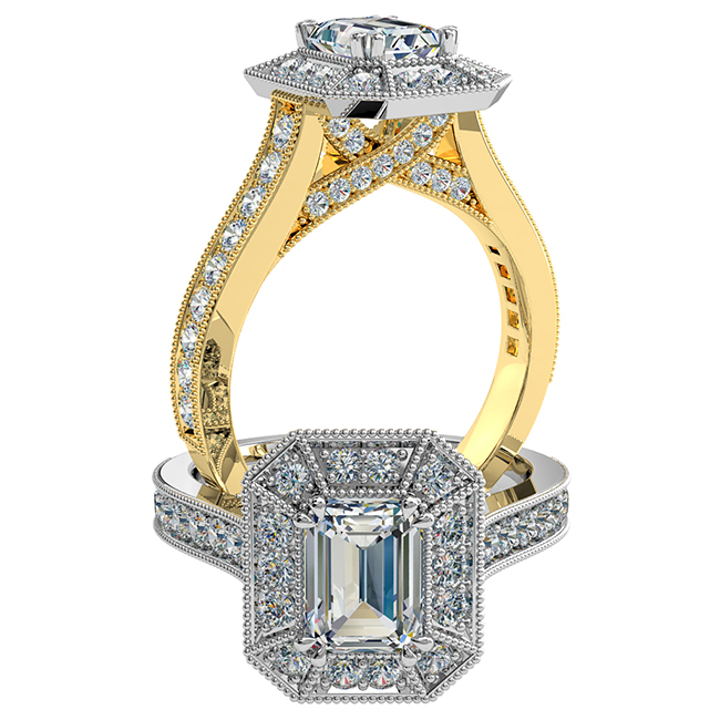 Emerald Cut Halo Diamond Engagement Ring, 4 Double Pear Claws Set in a Milgrain Bead Set Halo and Band with a Milgrain Diamond Undersweep Setting.