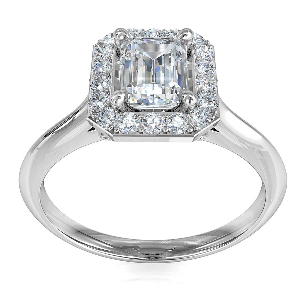 Emerald Cut Halo Diamond Engagement Ring, Cut Claw Halo on a Knife Edge Band with Miligrain Flower Undersetting.