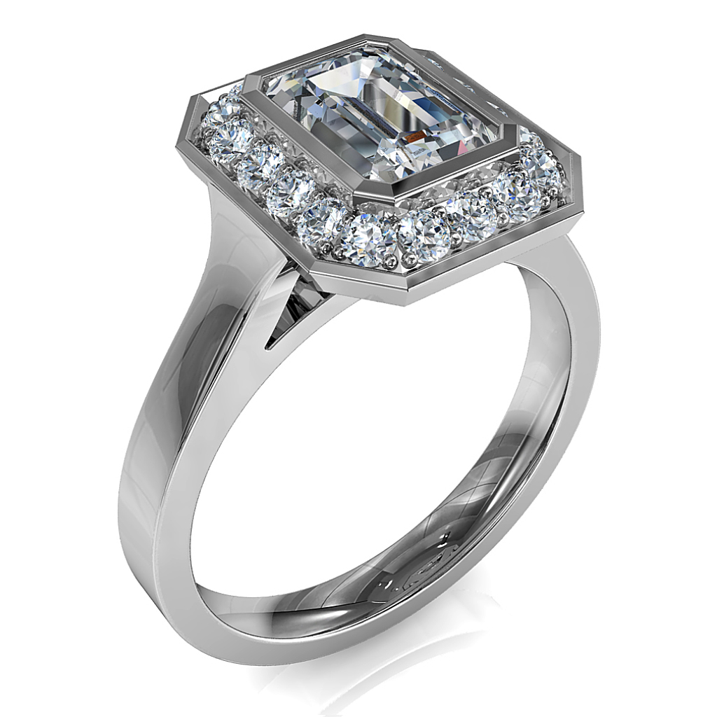 Emerald Cut Halo Diamond Engagement Ring, Bezel Set in a Bead Set Halo.