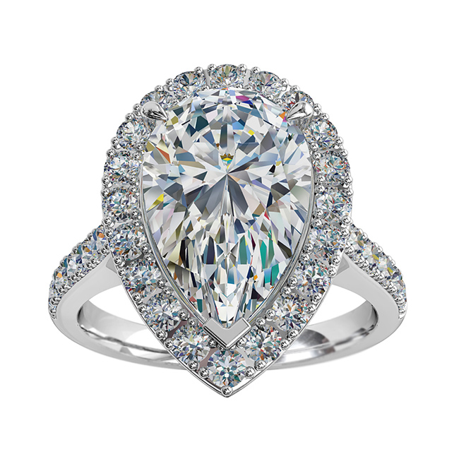Pear Shape Diamond Engagement Ring, 3 Claw Set in a Cut Claw Halo on a Cut Claw Band with Diamond Set Classic Underrail Setting.