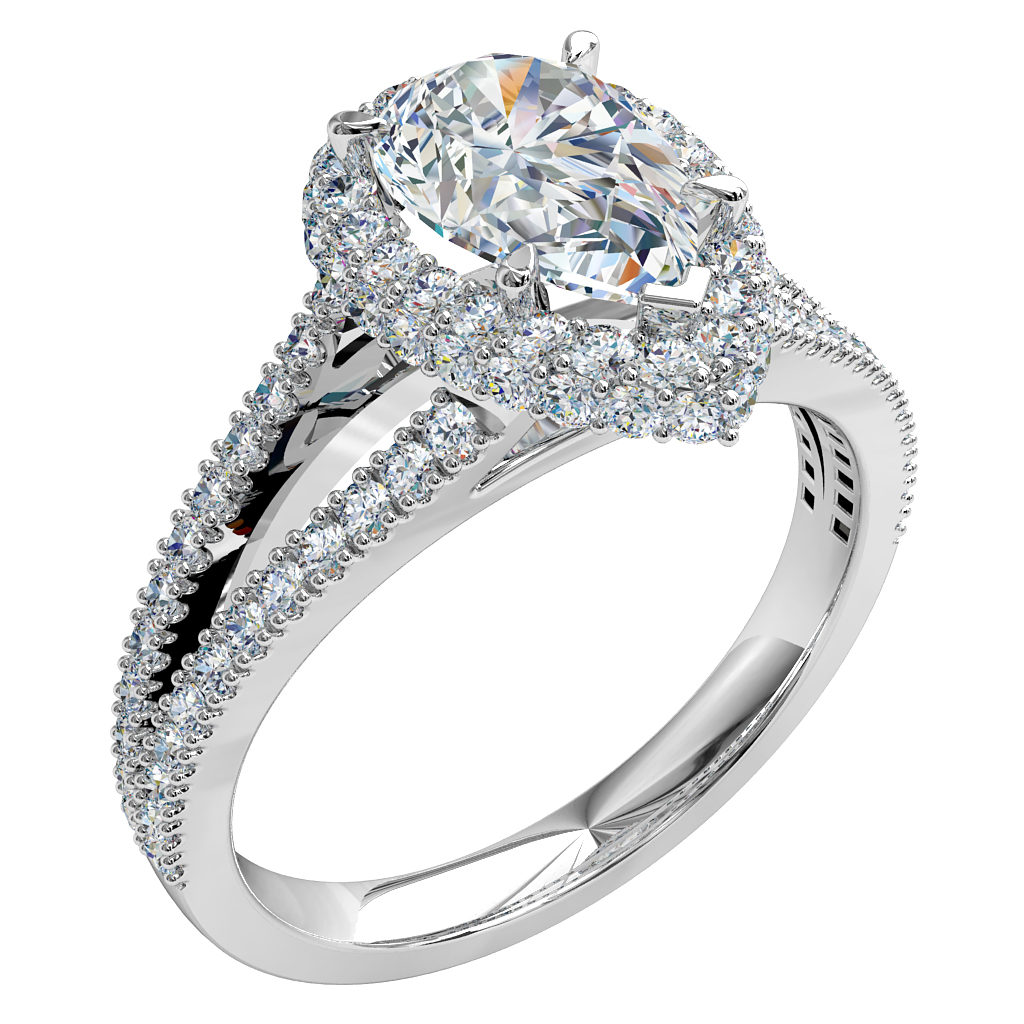 Pear Shape Trilogy Diamond Engagement Ring, 5 Claw Set in Double Cut Claw Halo on a Split Cut Claw Band.