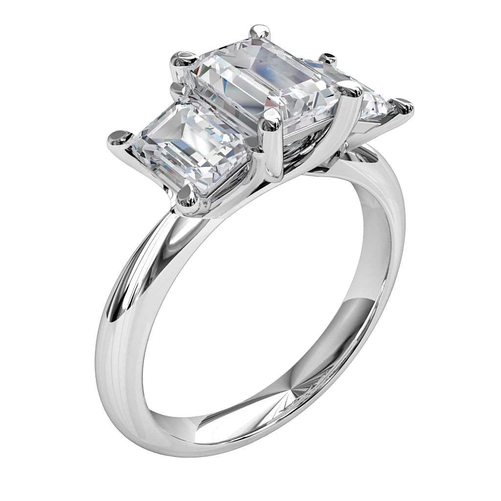 Emerald Cut Trilogy Diamond Engagement Ring, 4 Pear Claw Set with Emerald Cut Side Stones and Undersweep Setting.