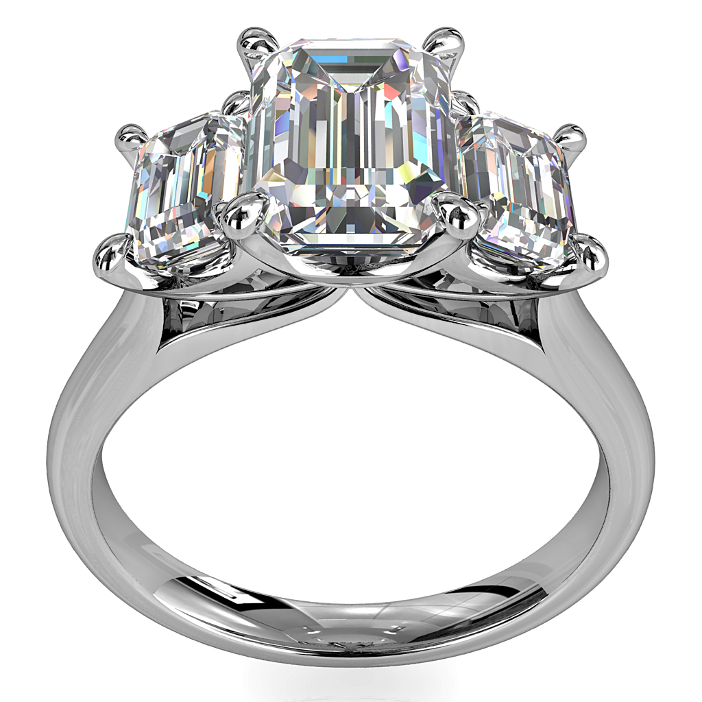 Emerald Cut Trilogy Diamond Engagement Ring Emerald Cut Side Stones With Modern Classic Undersetting