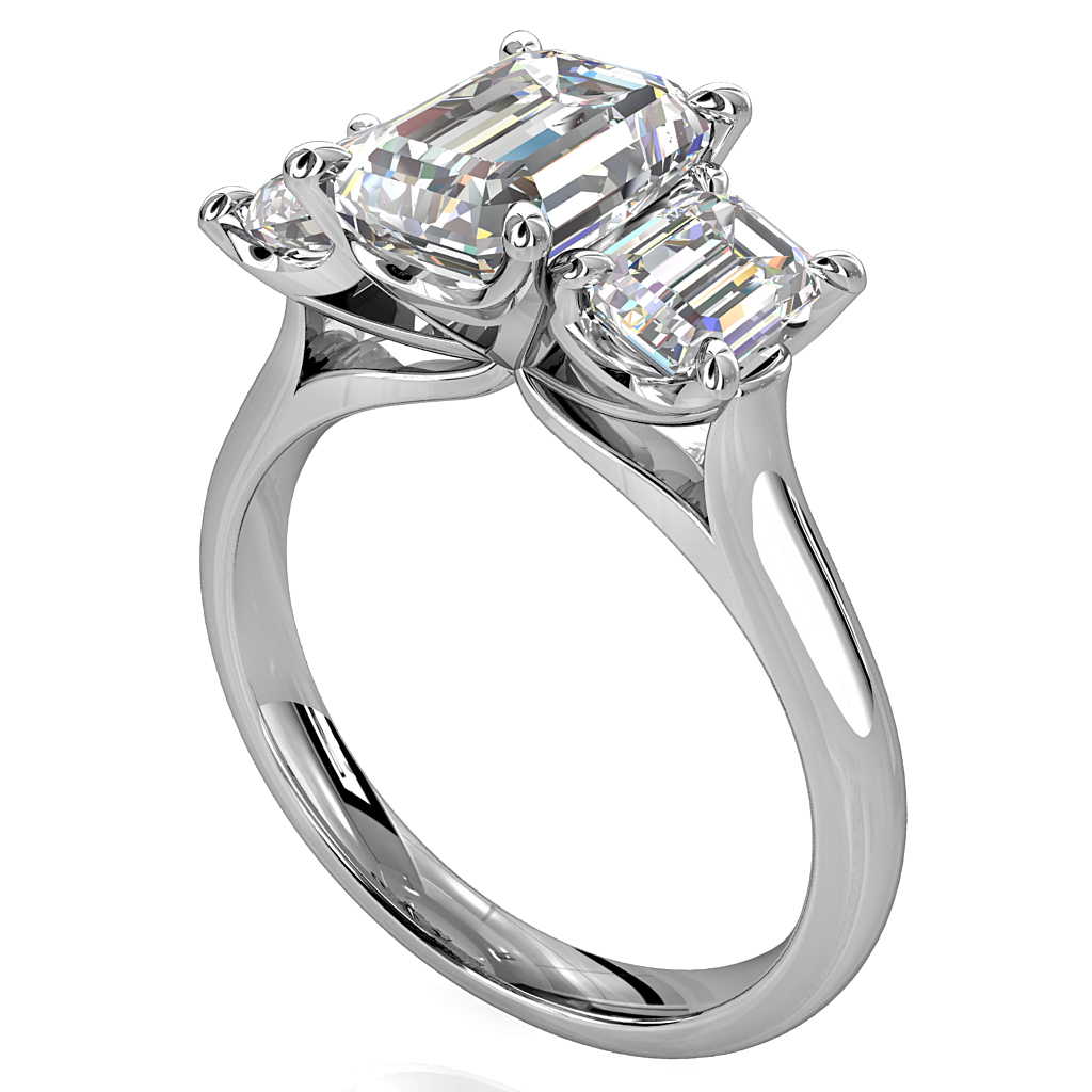Emerald Cut Trilogy Diamond Engagement Ring, Emerald Cut Side Stones with Modern Classic Undersetting.