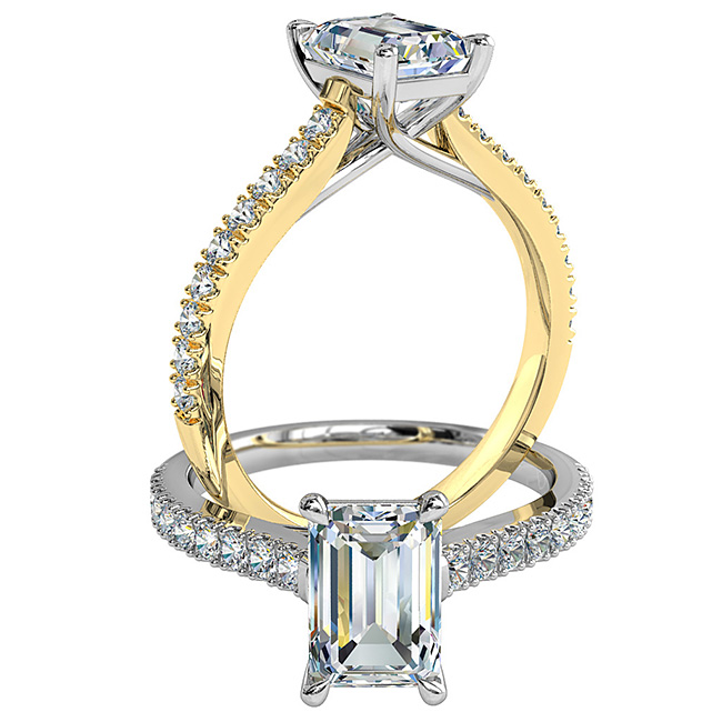 Emerald Cut Solitaire Diamond Engagement Ring, 4 Pear Claw Set on a Cut Claw Band with Undersweep Setting.