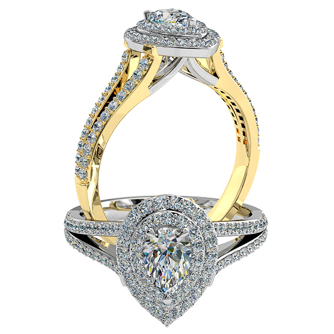 Pear Shape Halo Diamond Engagement Ring, 3 Pear Claw Set in a Double Cut Claw Halo on a Thin Cut Claw Band with a Sweeping Undersetting.