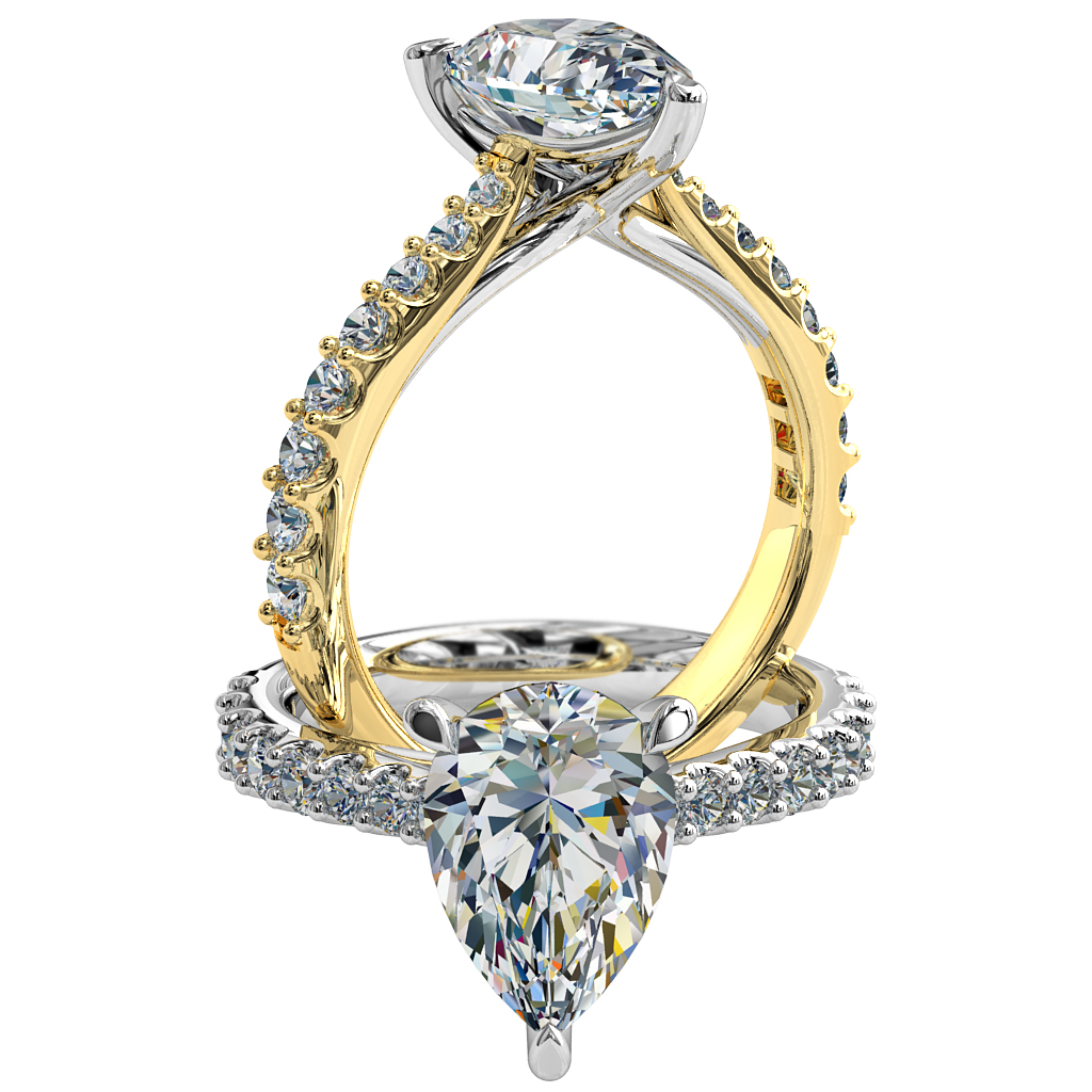 Pear Shape Solitaire Diamond Engagement Ring, 3 Pear Claws Set on a Tapered Cut Claw Band with an Undersweep Setting.