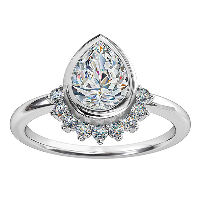 Pear Shape Halo Diamond Engagement Ring, Bezel Set with Half Spray Halo and Thin Polished Band.