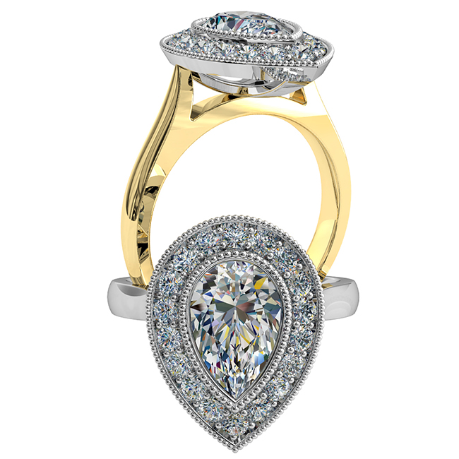 Pear Shape Halo Diamond Engagement Ring, Milgrain Bezel Set in a Milgrain Bead Set Halo on a Classic Underrail Setting.