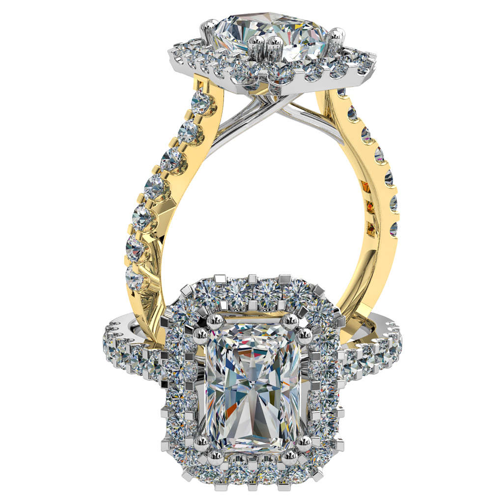 Emerald Cut Halo Diamond Engagement Ring, Double Claw Set in Heavy Cut Claw and Band with Undersweep Setting.