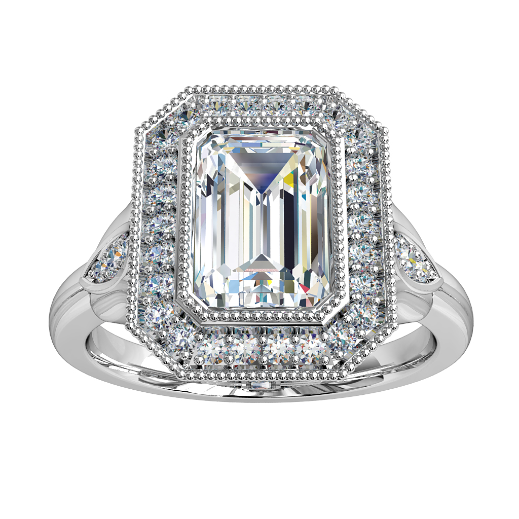 Emerald Cut Halo Diamond Engagement Ring, Milgrain Bezel in a Milgrain Bead Set Halo with Diamond Set Tulip Side Details and an Art Deco Under-basket.