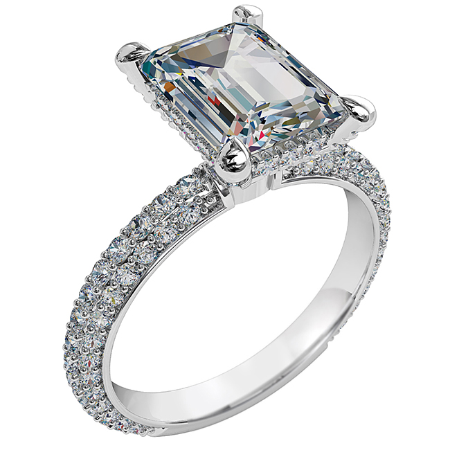Emerald Cut Solitaire Diamond Engagement Ring, 4 Pear Claw Set on a Rolled Pave Band with Cut Claw Undersetting and Support Bar.