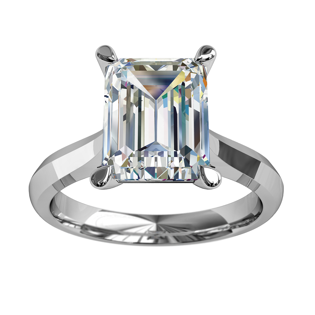 Emerald Cut Solitaire Diamond Engagement Ring, 4 Pear Shape Claws Set on a Tapered Knife Edge Band with Undersweep Setting.