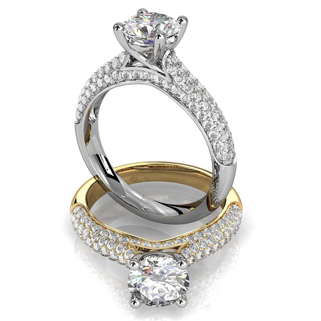 Cushion Cut Solitaire Diamond Engagement Ring, 4 Claw Set on Rolled Pave Band with an Undersweep Setting.