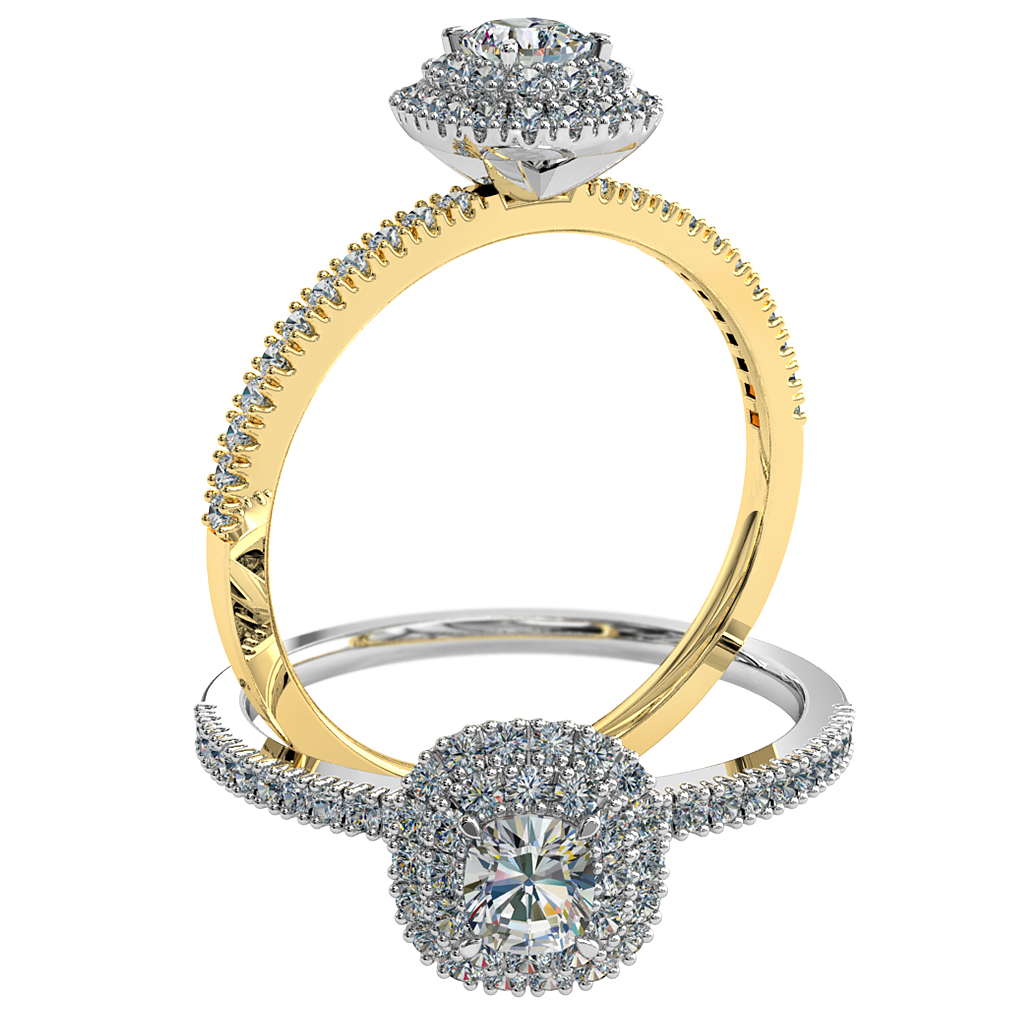 Cushion Cut Halo Diamond Engagement Ring, 4 Claws Set in a Cut Claw Double Halo on Fine Cut Claw Band.