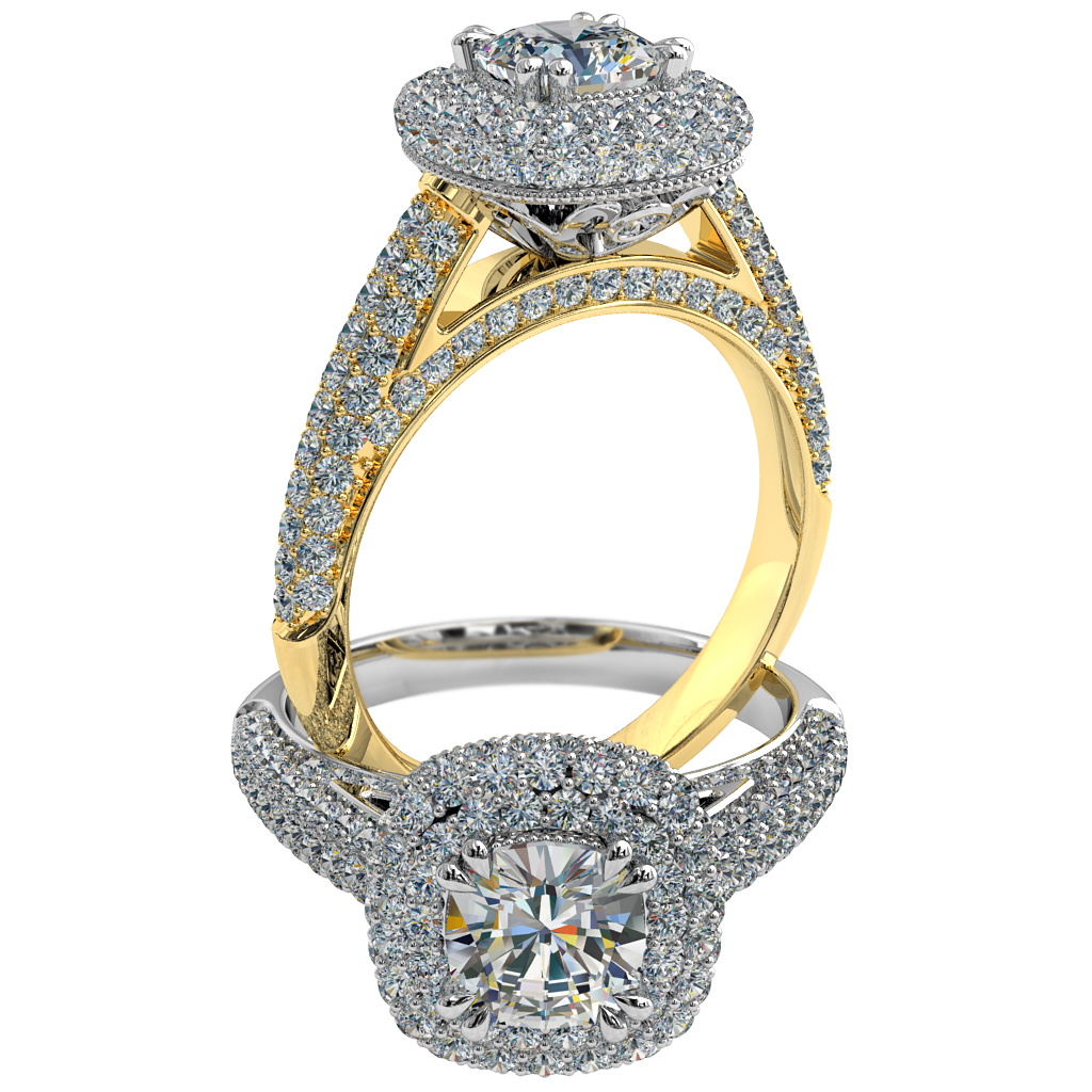 Cushion Cut Halo Diamond Engagement Ring, 4 Double Pear Claws Set into Rolled Pave Halo and Band with Hidden Diamond Undersetting