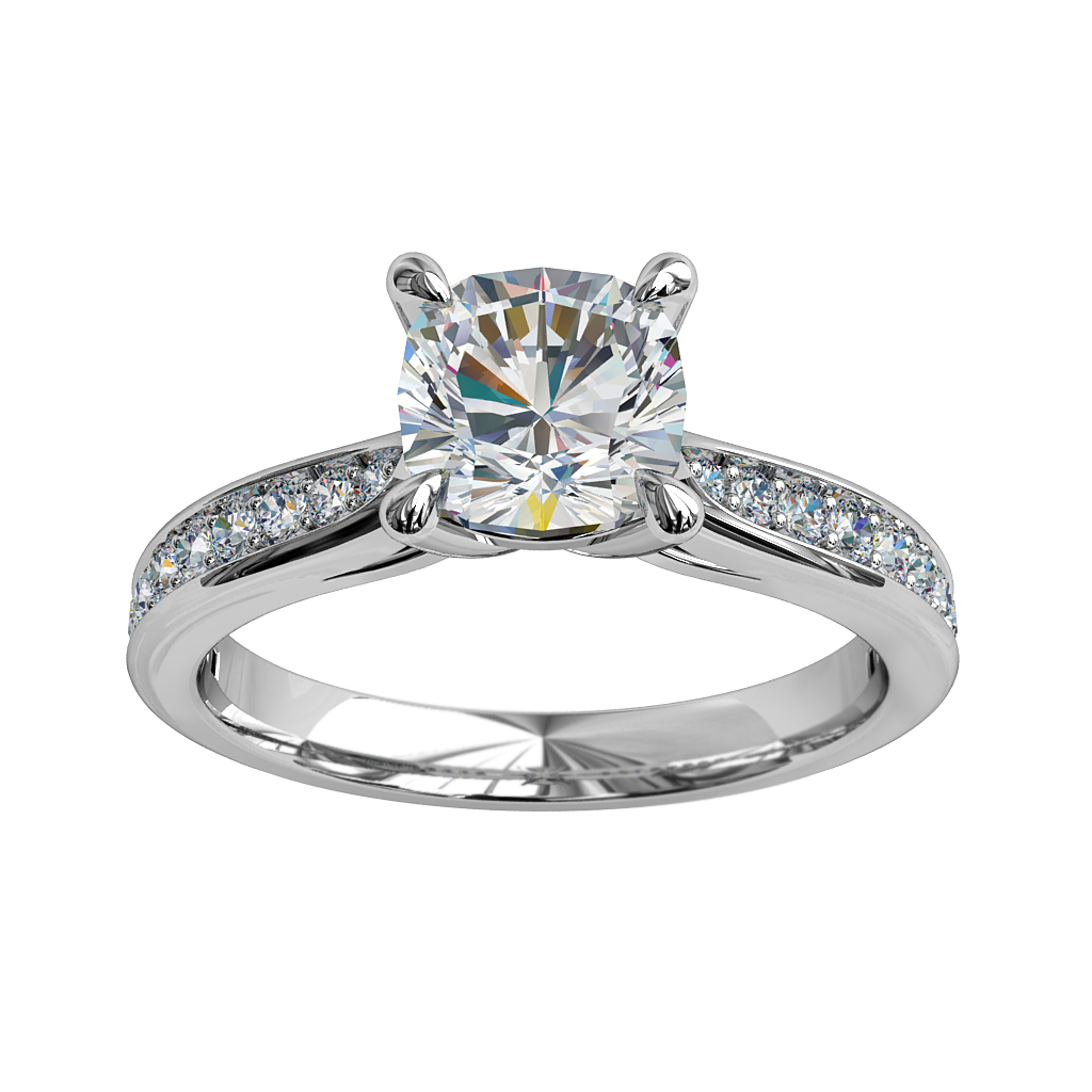 Asscher Cut Solitaire Diamond Engagement Ring, 4 Pear Claw Set on a Tapered Bead Set Band.