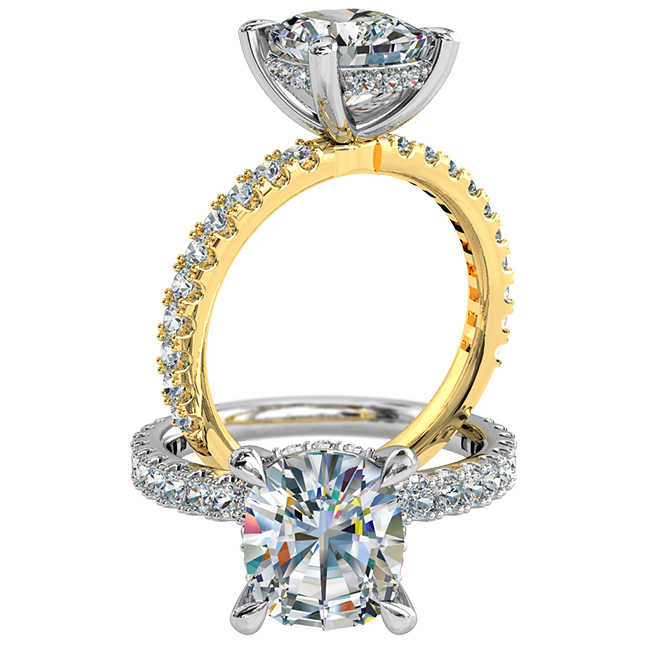 Elongated Cushion Cut Solitaire Diamond Engagement Ring, 4 Pear Claws Set on a Cut Claw Band with Diamond Support Bar.