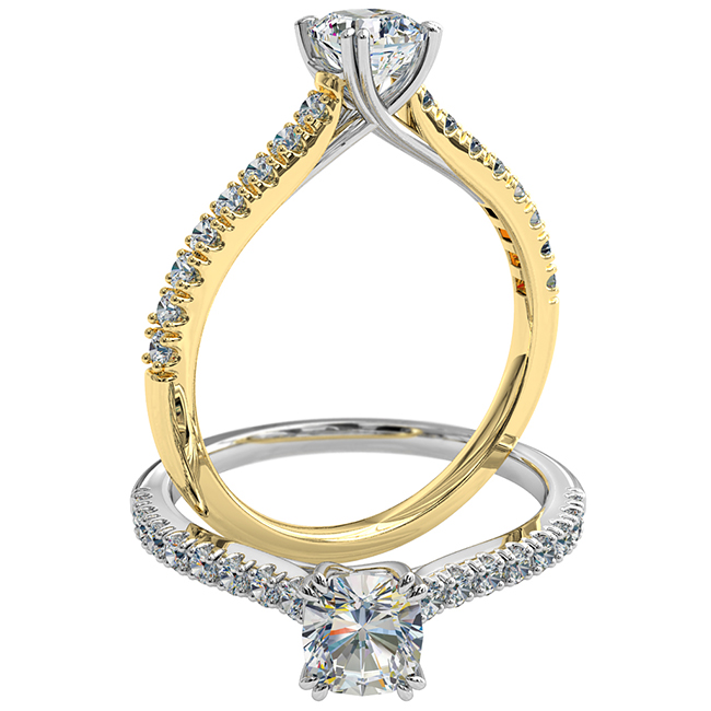 Cushion Cut Solitaire Diamond Engagement Ring, 4 Double Pear Claw Set on a Cut Claw Band with an Undersweep Setting