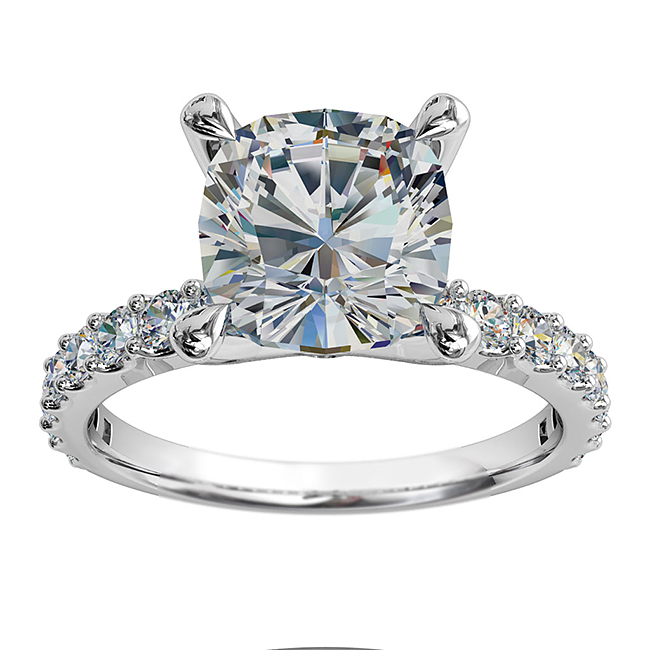 Cushion Cut Solitaire Diamond Engagement Ring, 4 Pear Claws Set on a Cut Claw Band with a Classic Raised Setting.