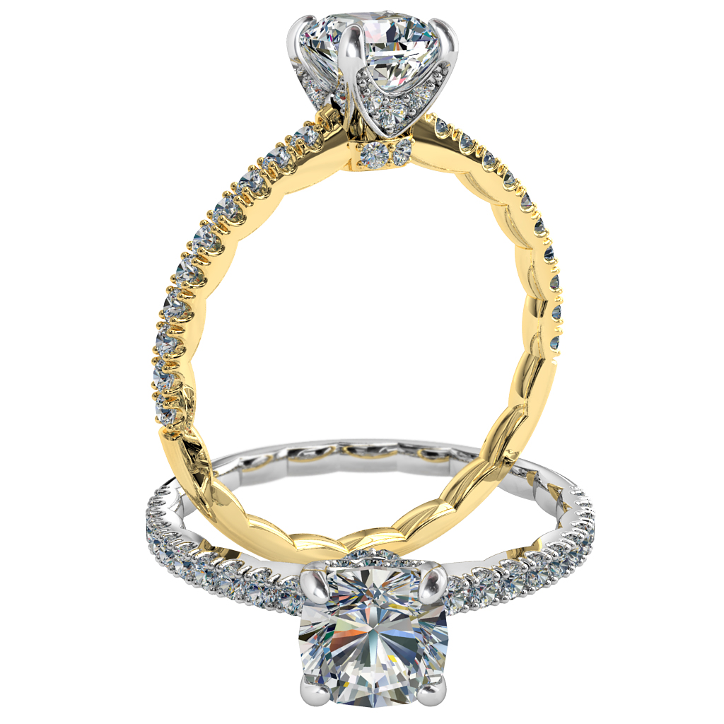 Asscher Cut Solitaire Diamond Engagement Ring, 4 Diamond Set Claws on a Cut Claw Band with Textured Band Inside.