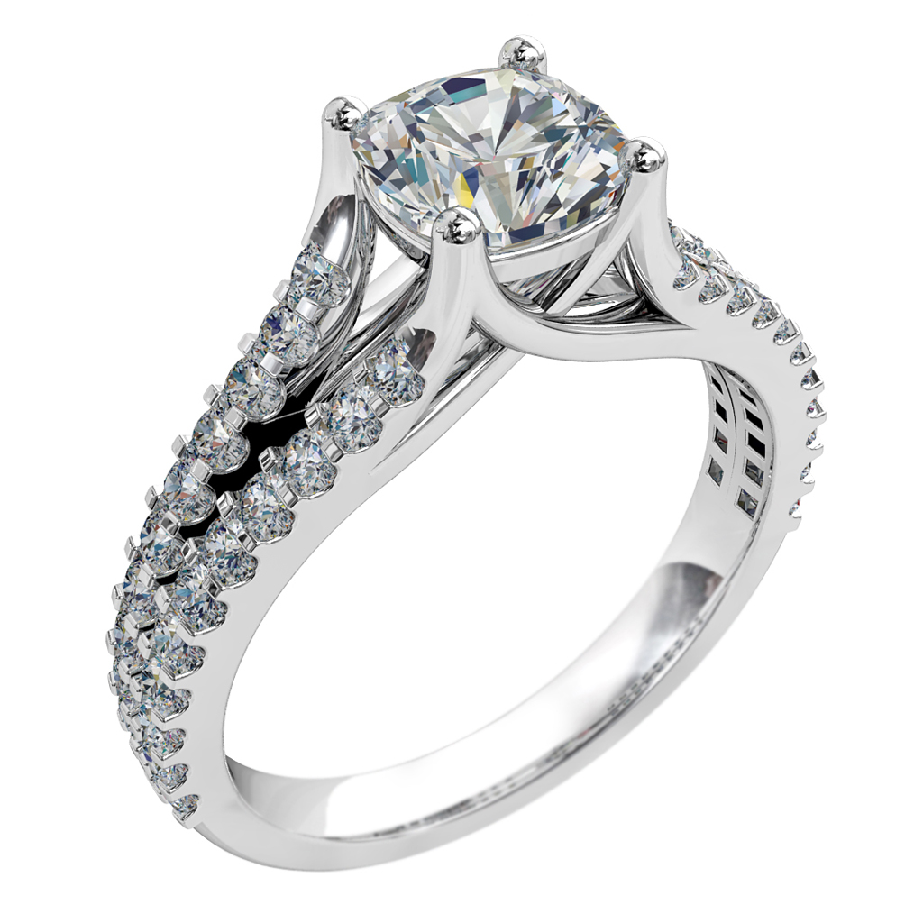Cushion Cut Solitaire Diamond Engagement Ring, 4 Claw Set on Diamond Cut Claw Split Band with an Undersweep Setting.