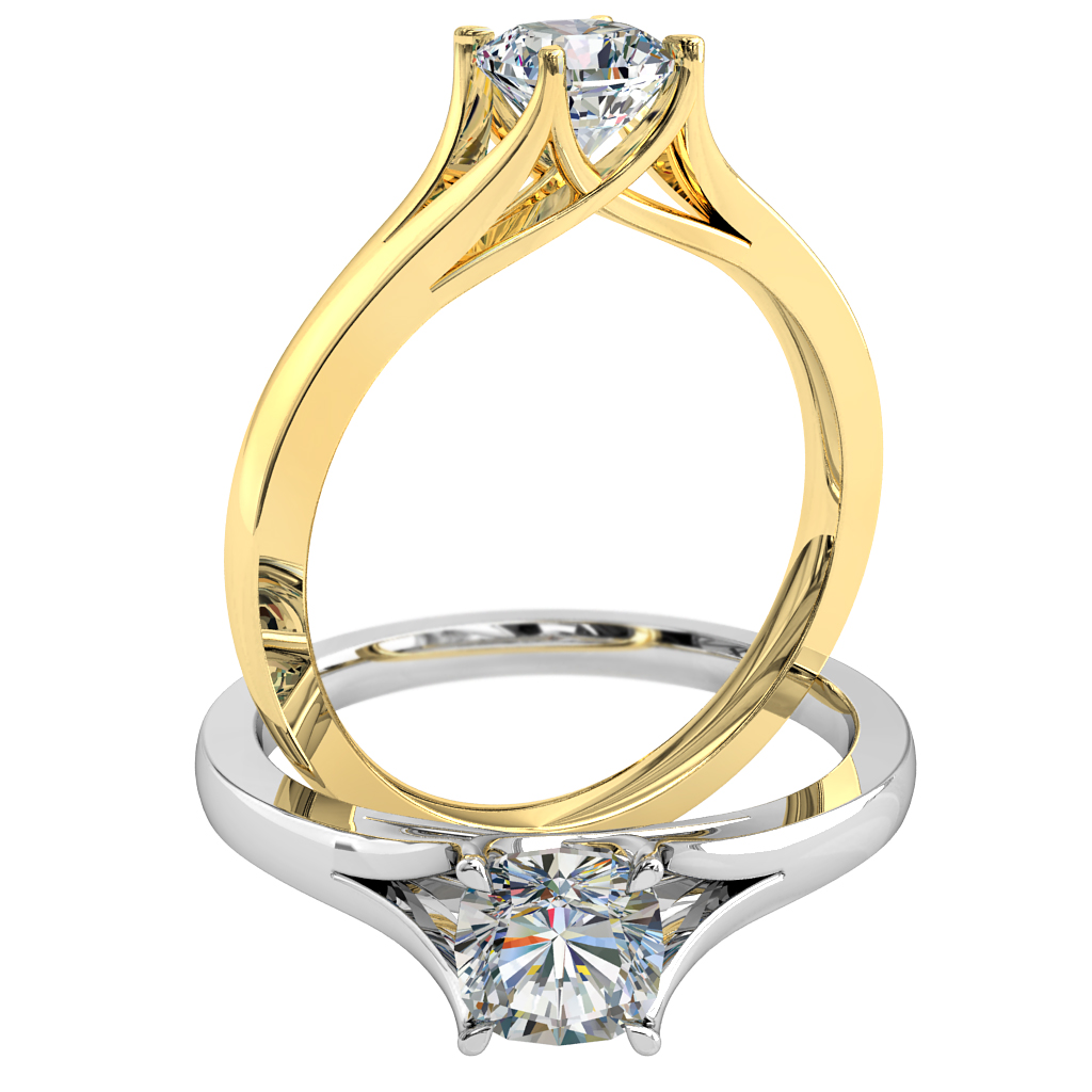Cushion Cut Solitaire Diamond Engagement Ring, 4 Pear Claw Set on a Split Band with an Undersweep Setting.