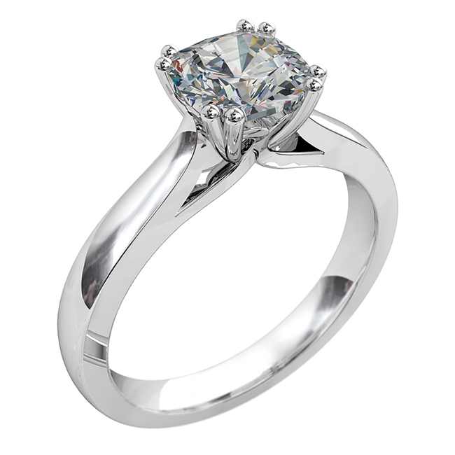 Asscher Cut Solitaire Diamond Engagement Ring, 4 Double Claws with V Scroll Setting Detail.