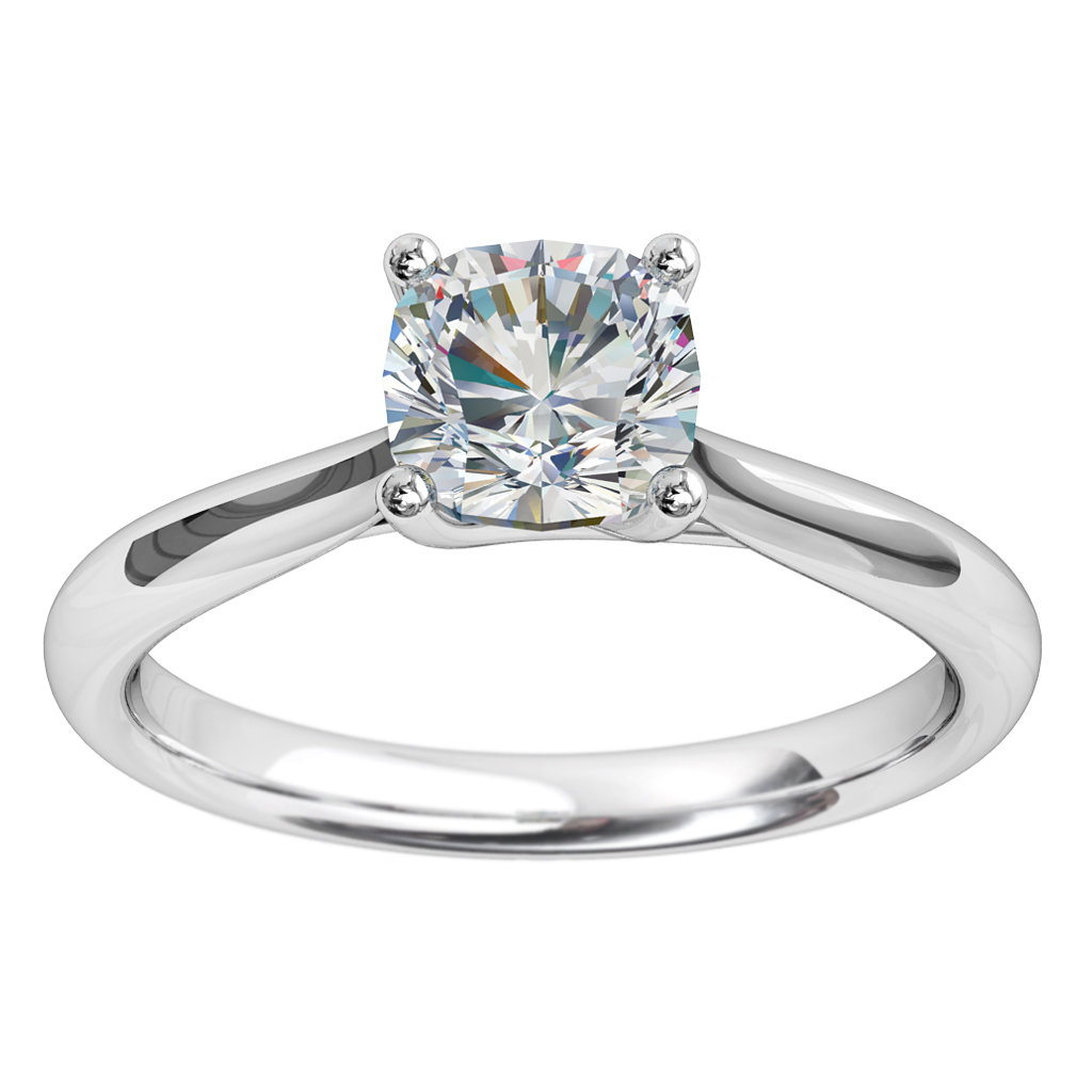 Cushion Cut Solitaire Diamond Engagement Ring, 4 Claw Set on a Round Tapered Band with an Undersweep Setting.