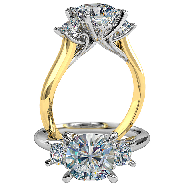 Cushion Cut Trilogy Diamond Engagement Ring, Pear Claws Set with Loop Scroll Setting Detail.