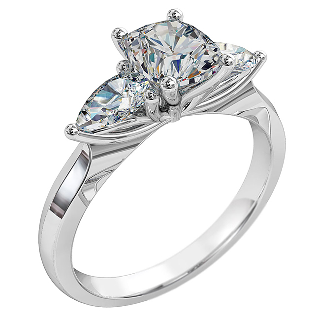 Cushion Cut Triology Diamond Engagement Ring, with Pear Side Diamonds and Lotus Setting Detail.