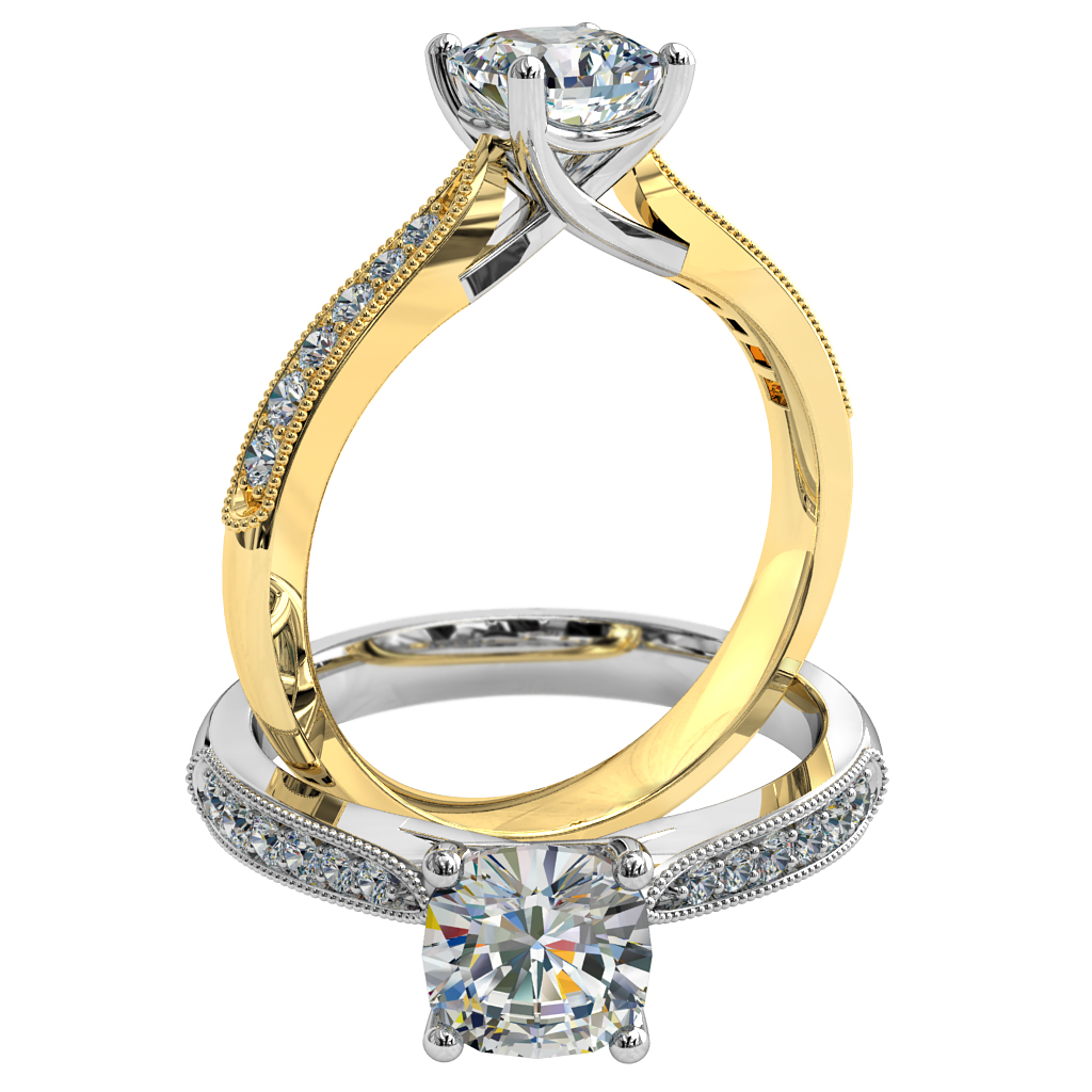 Cushion Cut Solitaire Diamond Engagement Ring, 4 Claw Set on a Milgrain Bead Set Tapered Band with an Undersweep Setting.