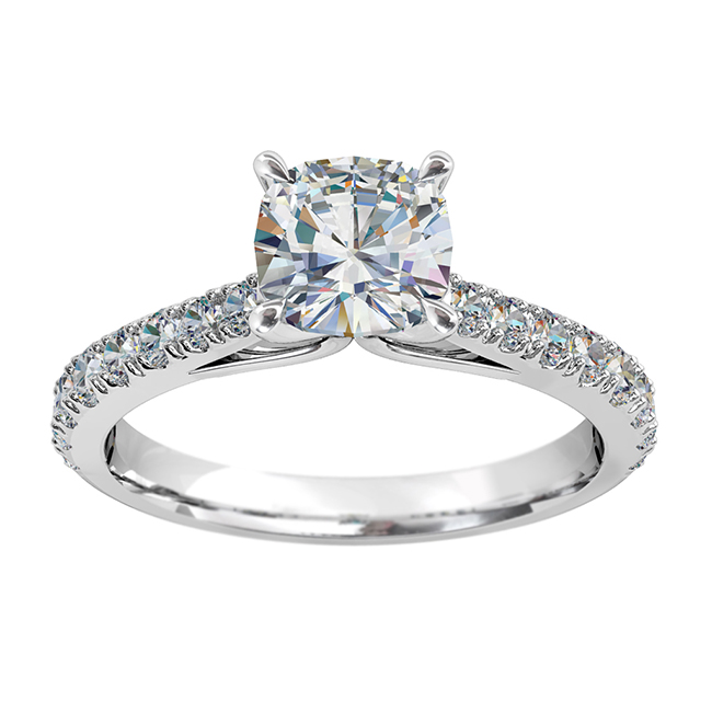 Cushion Cut Solitaire Diamond Engagement Ring, 4 Pear Claw Set on a Tapered Cut Claw Band with Fountain Undersetting.