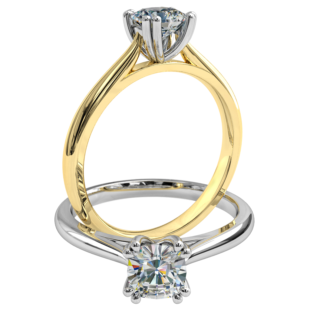 Cushion Cut Solitaire Diamond Engagement Ring, with 4 Double Claws.
