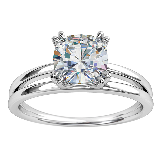 Asscher Cut Solitiare Diamond Engagement Ring, 4 Double Claws Set on a Rounded Split Band.